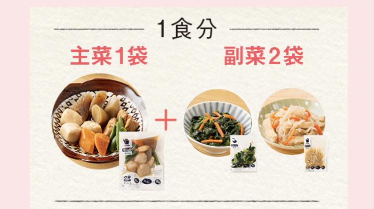 1食分は主菜1袋と副菜2袋